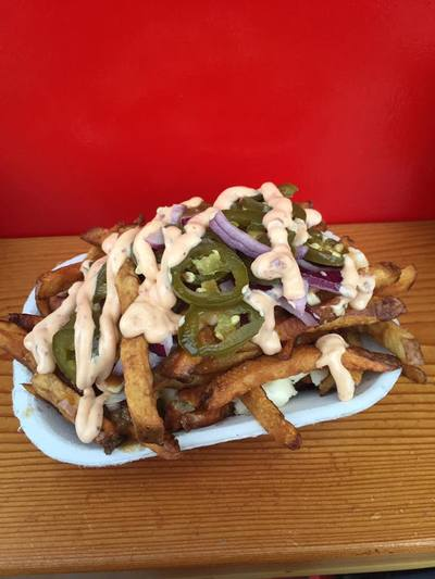 Poutine Supreme with candied jalapenos and red onion topped with chipotle mayo! at Al's Gourmet Falafel and Fries, Salt Spring Island, BC Restaurant