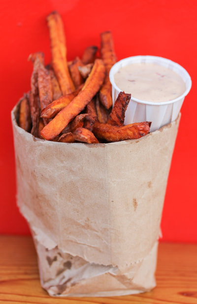 Fresh Cut Yam Fries with chipotle mayo at Al's Gourmet Falafel and Fries, Salt Spring Island, BC Restaurant