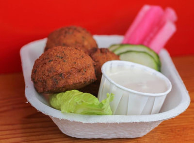 Just Falafel with tahini sauce at Al's Gourmet Falafel and Fries, Salt Spring Island, BC Restaurant